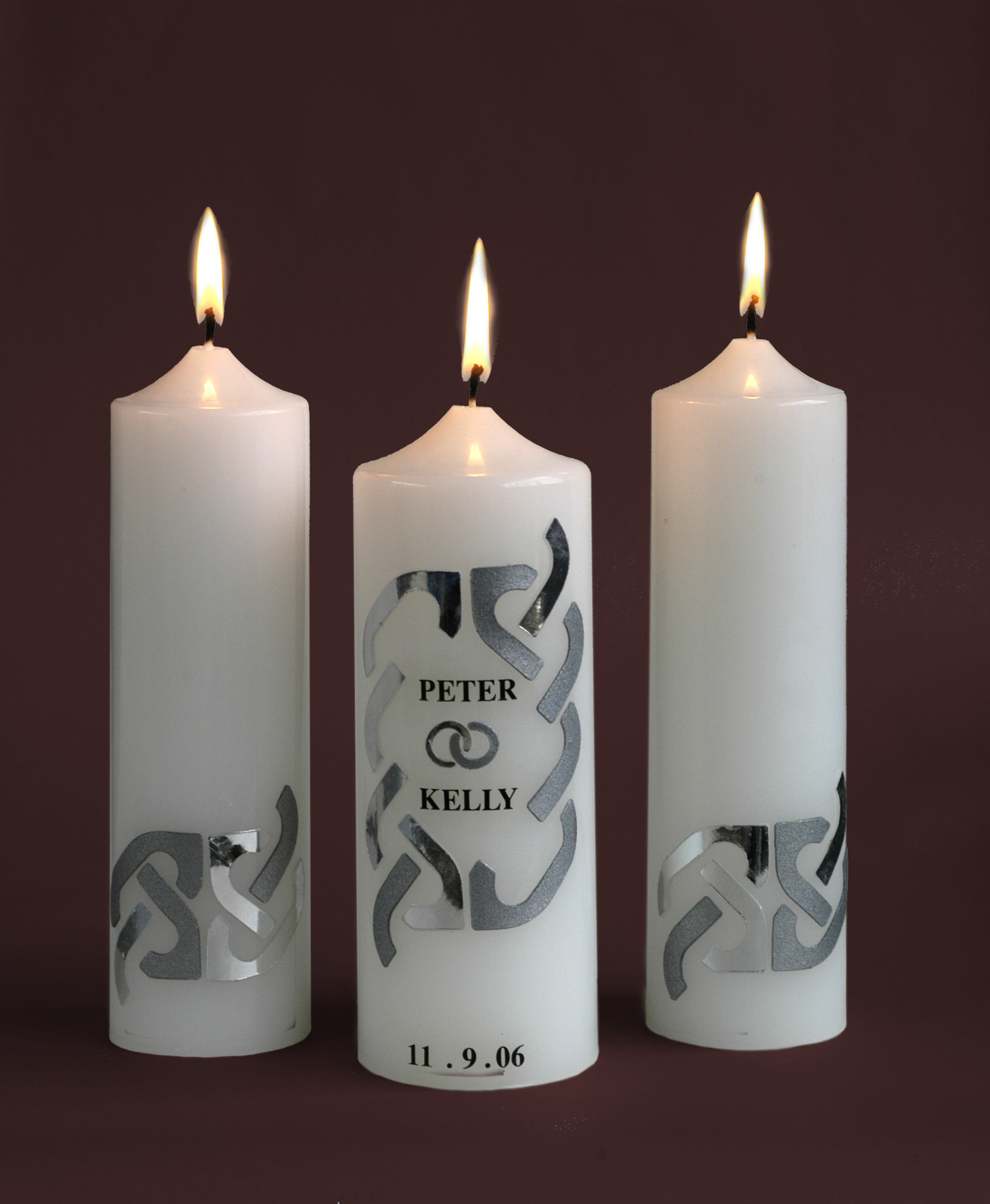 Wedding Candles: Wedding Candles (White Candles & Silver Design